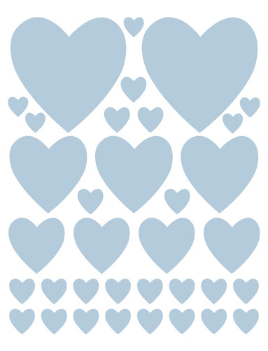 POWDER BLUE HEART WALL DECALS