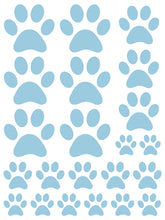 Load image into Gallery viewer, POWDER BLUE PAW PRINT WALL DECALS