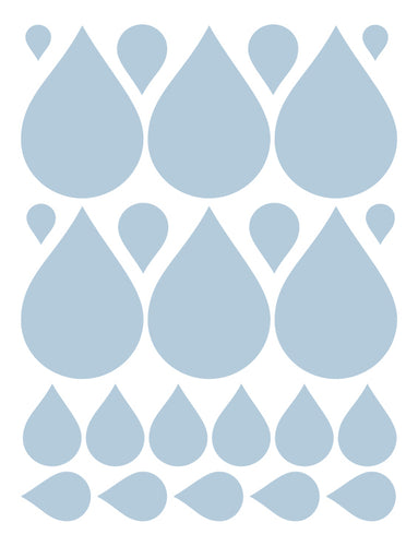 POWDER BLUE RAINDROP WALL DECALS