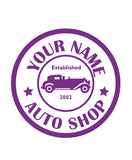CUSTOM AUTO SHOP WALL DECAL IN PURPLE