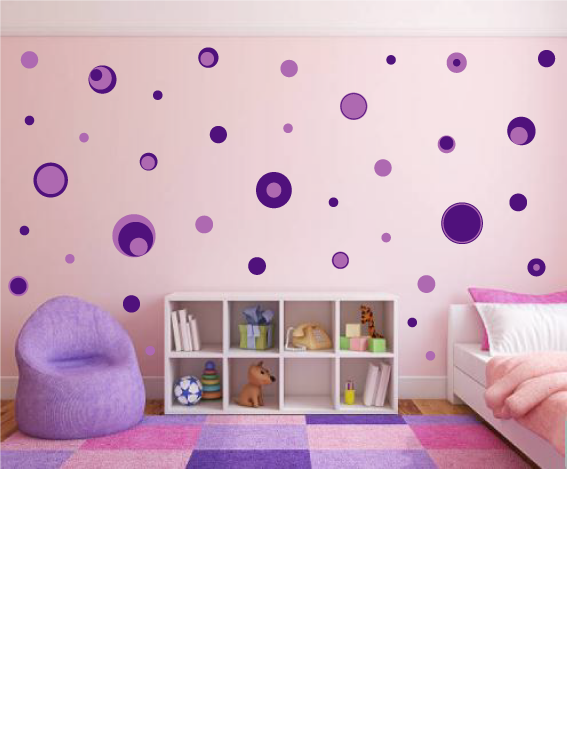 PURPLE POLKA DOT WALL STICKERS