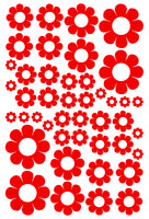 RED DAISY WALL STICKERS