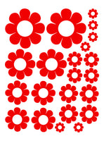 RED DAISY WALL DECALS