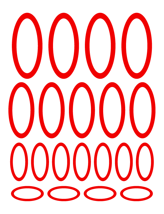 RED OVAL WALL DECALS