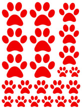 Load image into Gallery viewer, RED PAW PRINT WALL DECALS