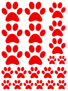 RED PAW PRINT WALL DECALS