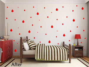 RED RAINDROP WALL GRAPHICS