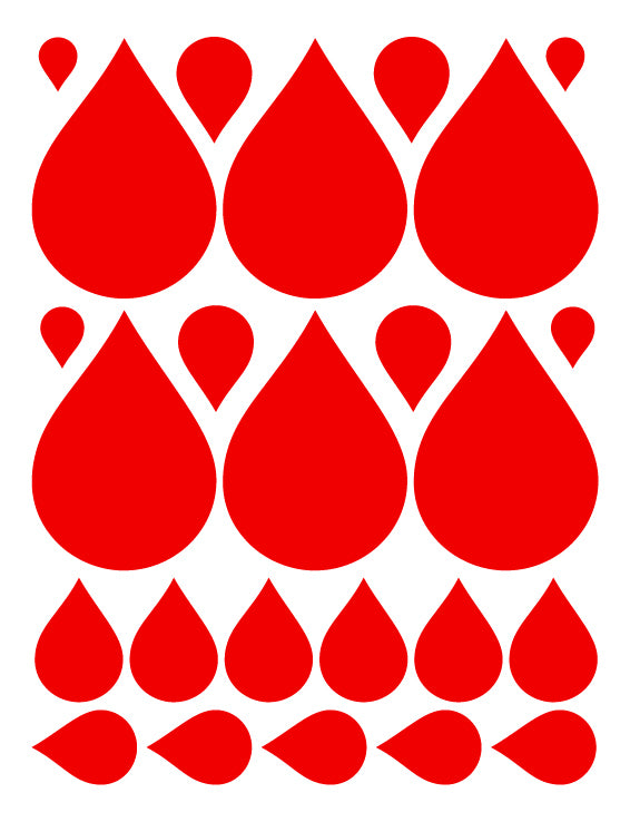 RED RAINDROP WALL DECALS
