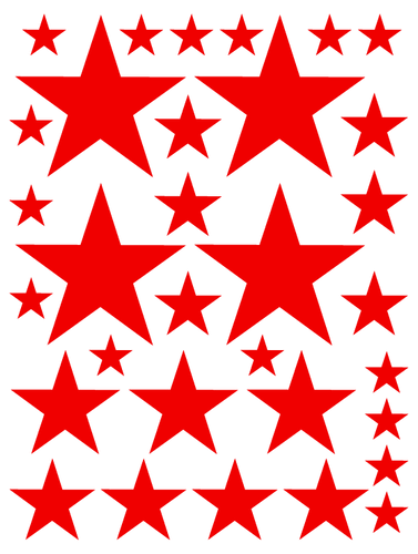 RED STAR WALL DECALS