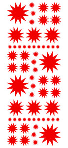 RED STARBURST WALL STICKERS