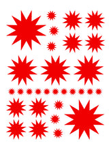 Load image into Gallery viewer, RED STARBURST WALL DECALS