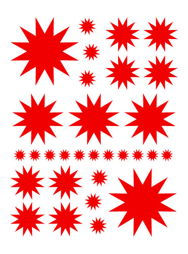 RED STARBURST WALL DECALS