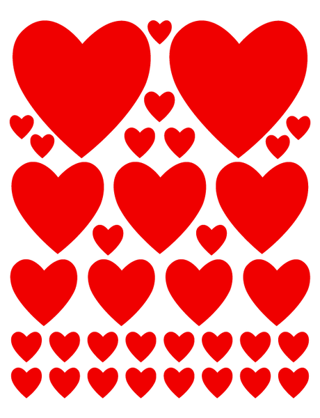 RED HEART WALL DECALS
