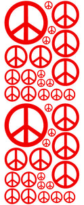 RED PEACE SIGN DECAL