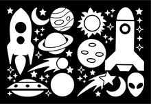 Load image into Gallery viewer, ROCKETS & PLANETS WALL DECALS IN WHITE
