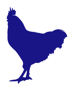 ROOSTER WALL DECAL IN ROYAL BLUE