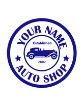 CUSTOM AUTO SHOP WALL DECAL IN ROYAL BLUE