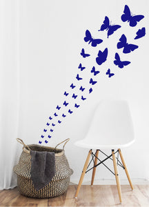 ROYAL BLUE BUTTERFLY WALL STICKERS