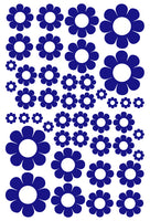 ROYAL BLUE DAISY WALL STICKERS