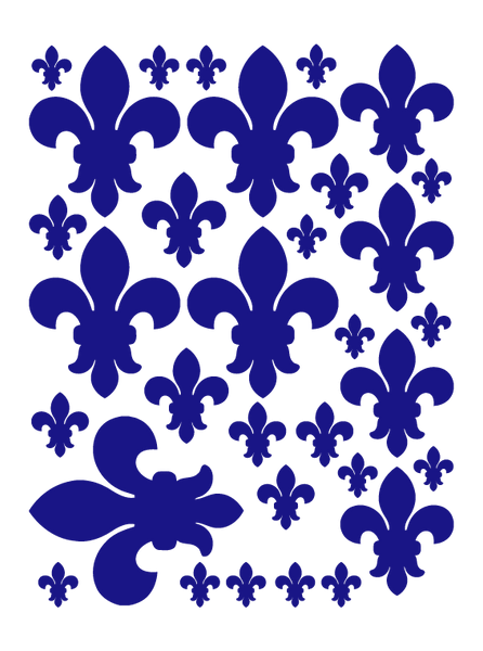 ROYAL BLUE FLEUR DE LIS WALL DECALS