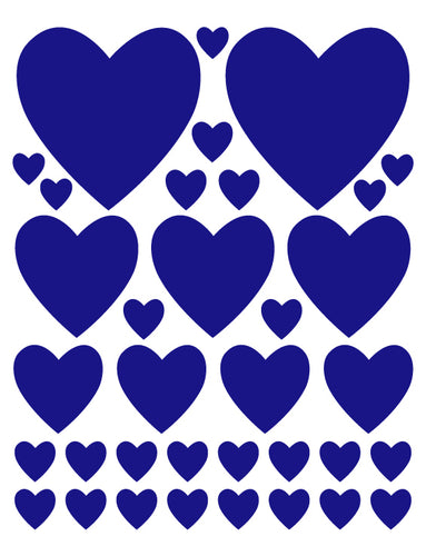 ROYAL BLUE HEART WALL DECALS