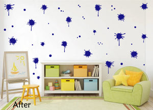 ROYAL BLUE PAINT SPLATTER WALL STICKER