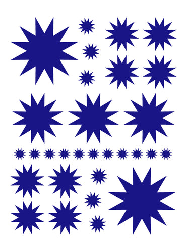 ROYAL BLUE STARBURST WALL DECALS