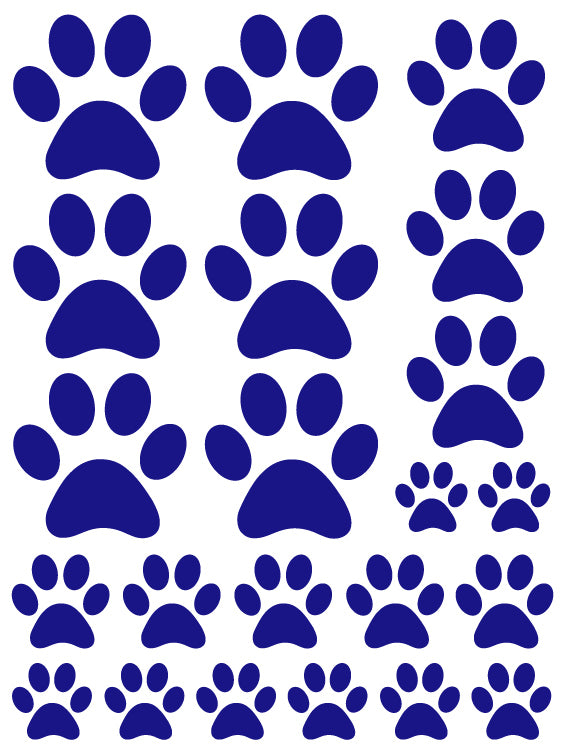 ROYAL BLUE PAW PRINT WALL DECALS