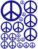 ROYAL BLUE PEACE SIGN WALL DECAL