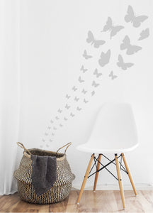 SILVER BUTTERFLY WALL STICKERS