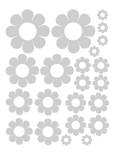 SILVER DAISY WALL DECALS