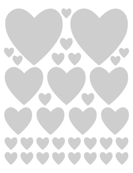 SILVER HEART WALL DECALS