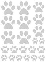 SILVER PAW PRINT WALL DECALS