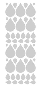 SILVER RAINDROP WALL STICKERS