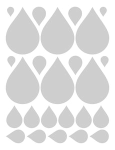 SILVER RAINDROP WALL DECALS