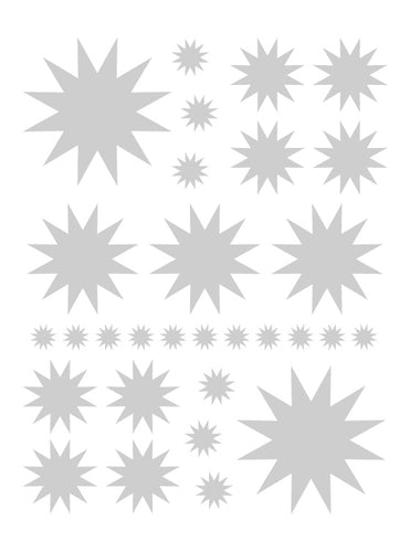 SILVER STARBURST WALL DECALS