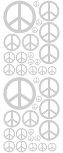 SILVER PEACE SIGN DECAL