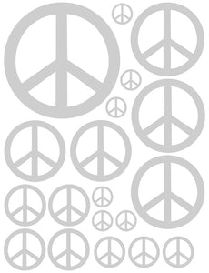 SILVER PEACE SIGN WALL DECAL