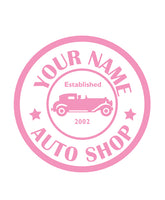 CUSTOM AUTO SHOP WALL DECAL IN SOFT PINK