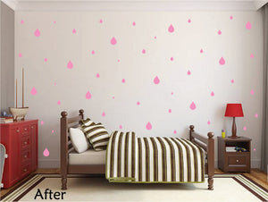 SOFT PINK RAINDROP WALL GRAPHICS
