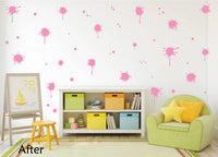 SOFT PINK PAINT SPLATTER WALL STICKERS