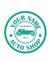 CUSTOM AUTO SHOP WALL DECAL IN TURQUOISE
