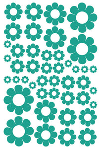 TURQUOISE DAISY WALL STICKERS