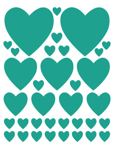TURQUOISE HEART WALL DECALS