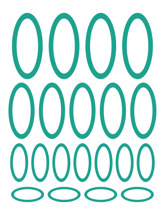 TURQUOISE OVAL WALL DECALS