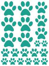 Load image into Gallery viewer, TURQUOISE PAW PRINT WALL DECALS
