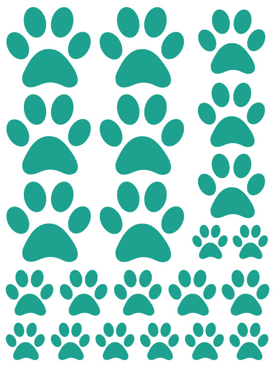 TURQUOISE PAW PRINT WALL DECALS