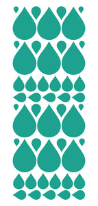 TURQUOISE RAINDROP WALL STICKERS