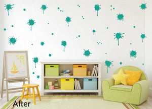 TURQUOISE PAINT SPLATTER WALL STICKER