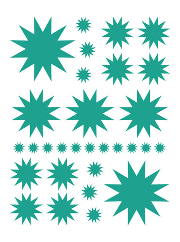 TURQUOISE STARBURST WALL DECALS